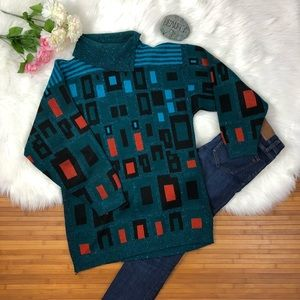 DVF rare vintage geometric turtleneck sweater